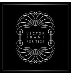 Vintage calligraphic silver frame modern swirl vector