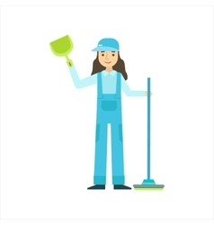 Woman standing with broom and duster cleaning vector