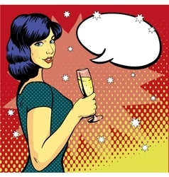 Woman with wine glass in pop art retro style vector image