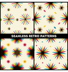 Abstract retro geometric seamless patterns collect vector