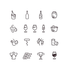 Wine sommelier winery thin line icons vector