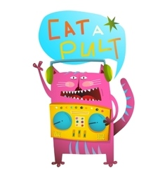 Cat dj playing music with pult humorous catapult vector