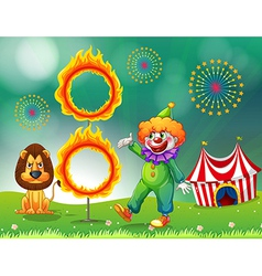 A lion and a clown with a ring of fire vector image