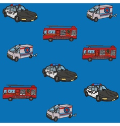 Seamless pattern public service cars vector image