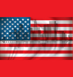 flag of usa with los angeles skyline vector image
