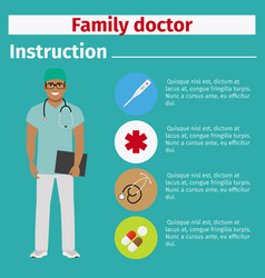 Medical equipment instruction for family doctor vector