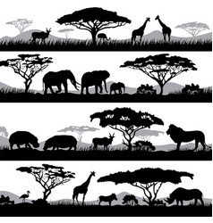 Wild african life background silhouettes of vector