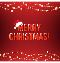 Xmas Red Background With Gold Stars vector image