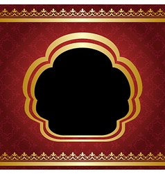 Red vintage background with golden frame vector
