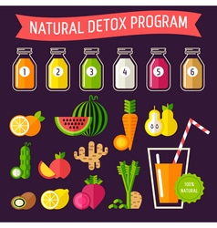 Detox set bottles vector