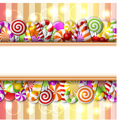 Sweet banner with colorful candies vector