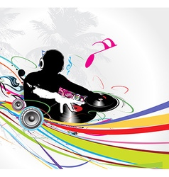 Dj man playing tunes vector