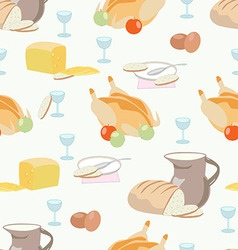 Pattern with food dish glass baked chicken bre vector