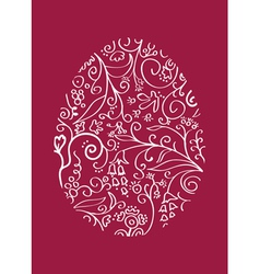 Red lacy easter egg vector