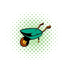 Gardening wheelbarrow comics icon vector