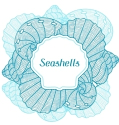 Marine background with stylized seashells design vector