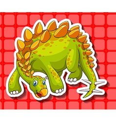 Green dinosaur on red background vector