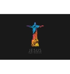 Christ the redeemer statue logo jesus logo vector