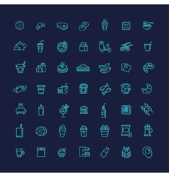 Fast food outline icons set cooking vector