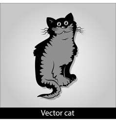 A funny black cat is sitting and smiling vector image vector image