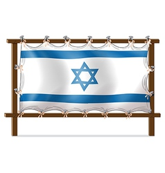 A wooden frame with the israel flag vector