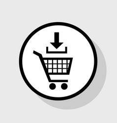 add to shopping cart sign flat black icon vector image vector image