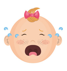 Baby face crying vector