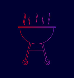 Barbecue simple sign line icon with vector
