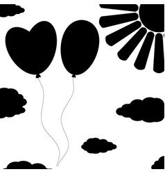 black isolated silhouettes of balloons on a white vector image vector image