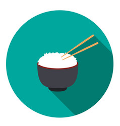 Bowl of rice with pair of chopsticks vector
