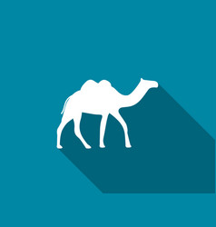 camel with a long shadow camel with two humps vector image