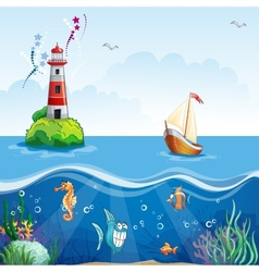 Childrens with lighthouse and sailboat On the sea vector image vector image