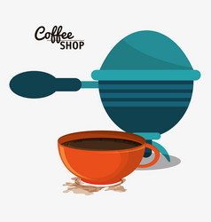 coffee shop with filter and cup vector image