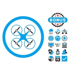 Copter flat icon with bonus vector