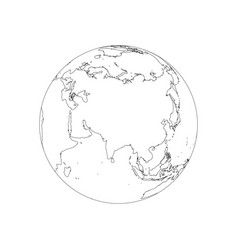 Earth globe wireframe focused on asia vector