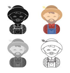 Farmer cartoon icon for web and vector