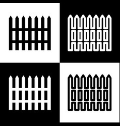 Fence simple sign black and white icons vector