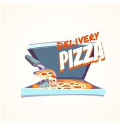 hot pizza in box with text vector image vector image