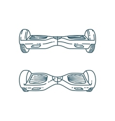 Hover boards in linear style vector
