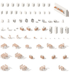 kitchen and bathroom low poly isometric icon set vector image vector image