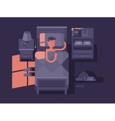 Man sleep in bed vector image