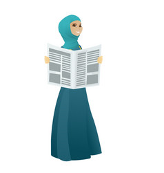 Muslim business woman reading newspaper vector