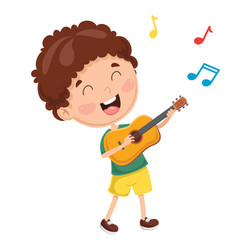 of kid playing guitar vector image