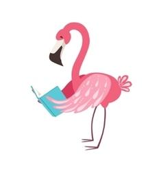 Pink flamingo smiling bookworm zoo character vector