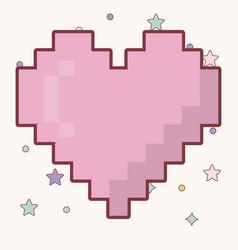 Pixel heart icon vector