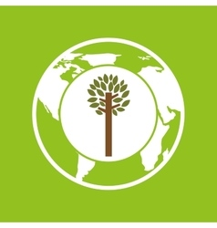 Planet earth ecology tree felling icon vector