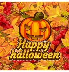 Pumpkin carving symbol of happy Halloween vector image vector image