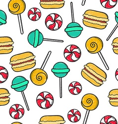 Seamless doodle pattern with sucking sweet candie vector image