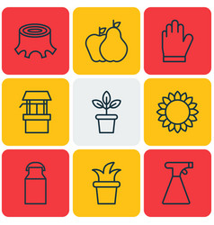 Set of 9 agriculture icons includes helianthus vector