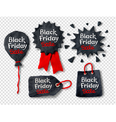 Set of plasticine black friday banners vector